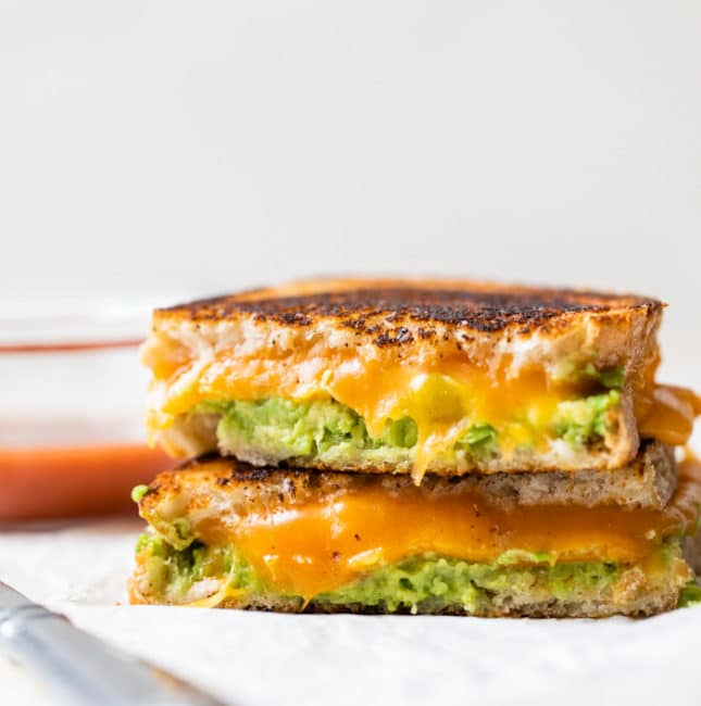 grilled cheese with mashed avocado