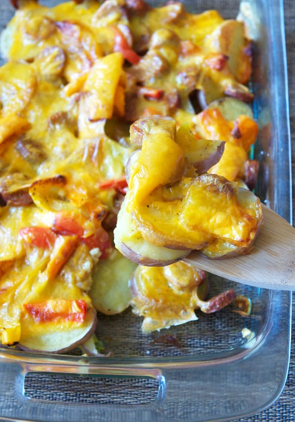 Cheesy Potato and Chicken Sausage Casserole