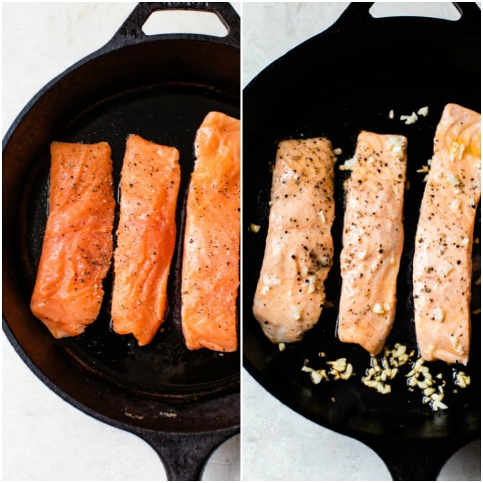 salmon in a skillet