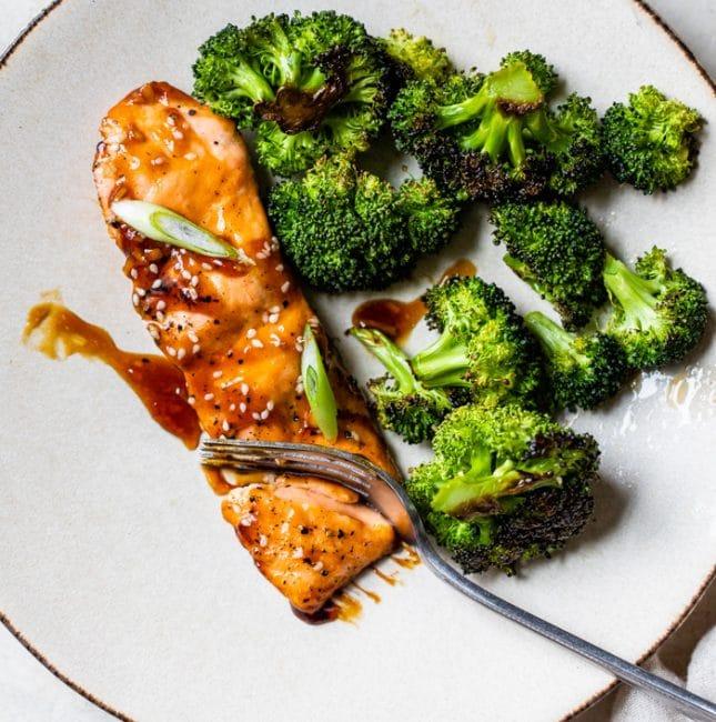 salmon and broccoli on a plate