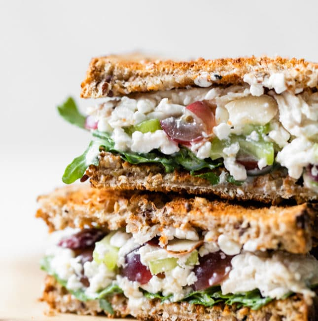 chicken, grapes, celery, mayo sandwich