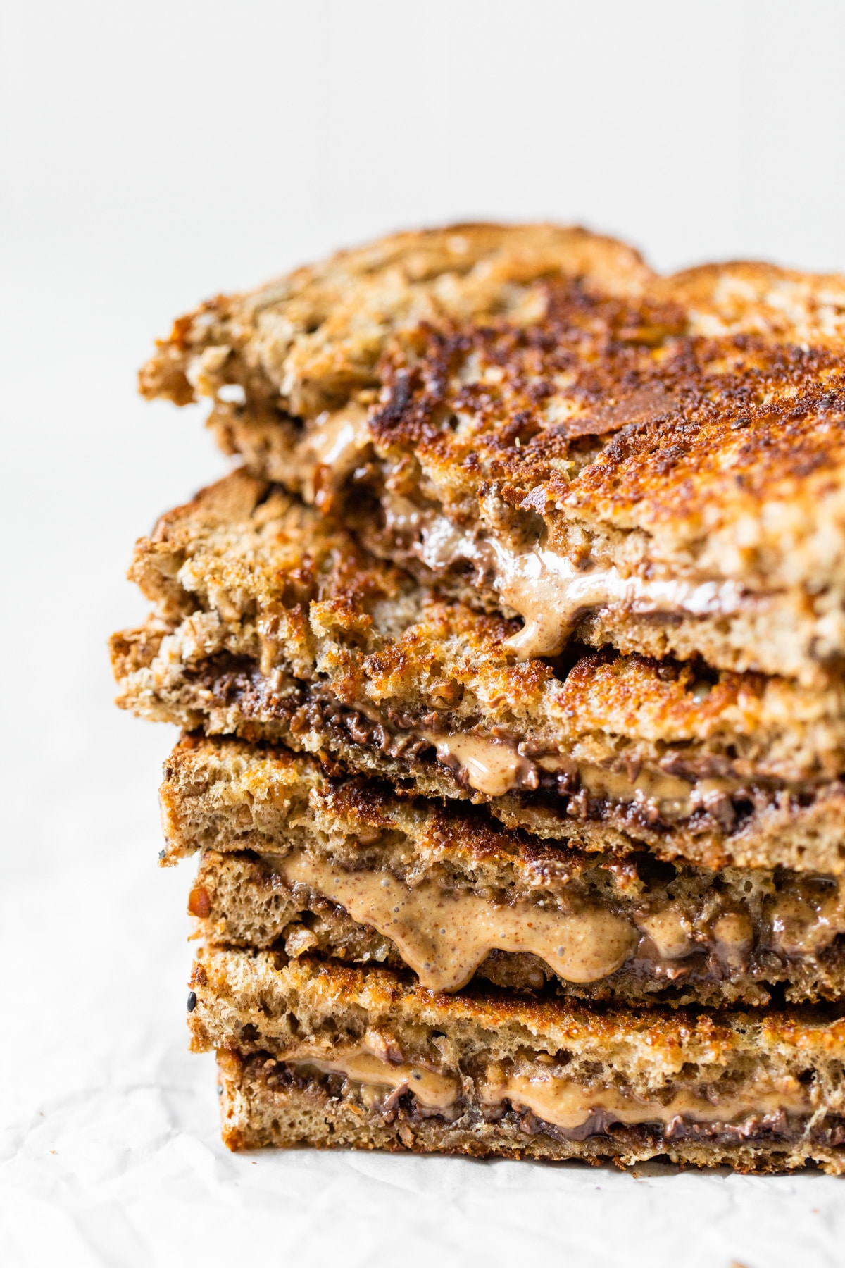 stacked sandwich with almond butter