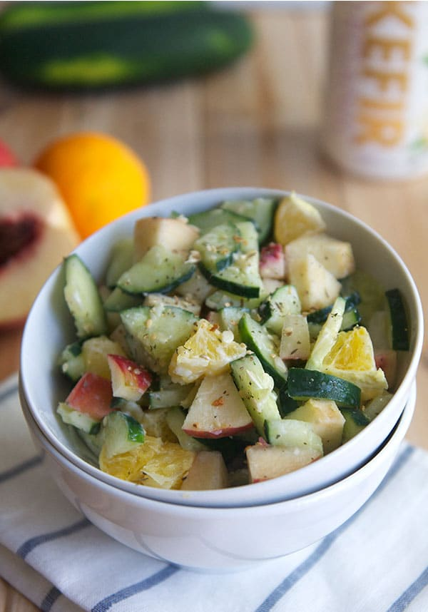 Cucumber Fruit Salad with Kefir