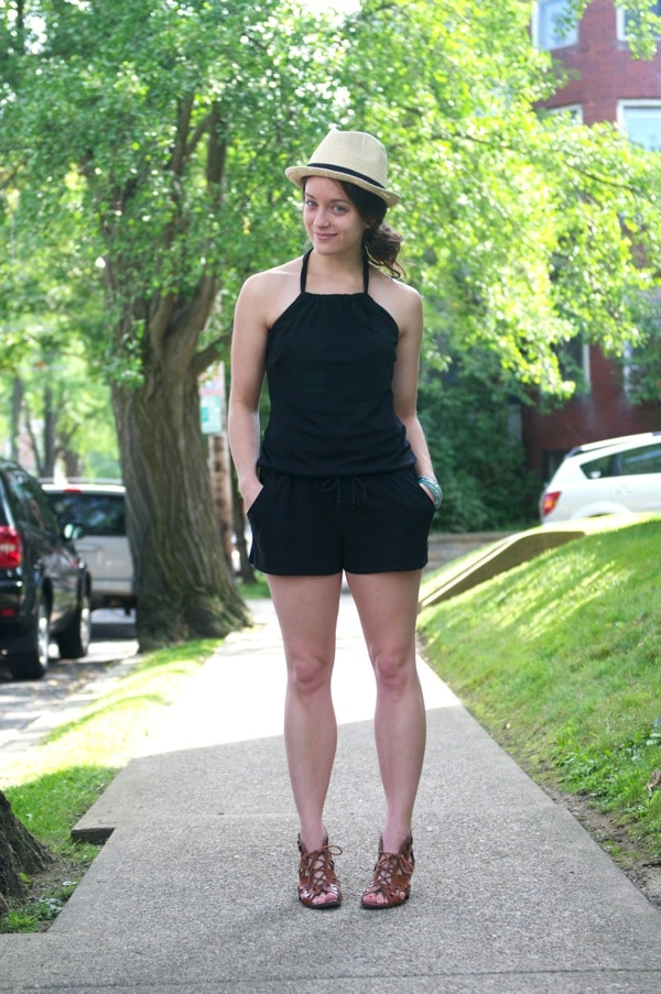 ef653b157522 Summer Style  Black Romper and Fedora-The Almond Eater
