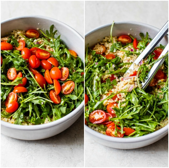 salad with tomatoes in a bowl