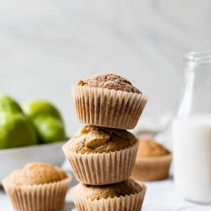 a stack of three muffins