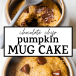 cake in a mug with text overlay