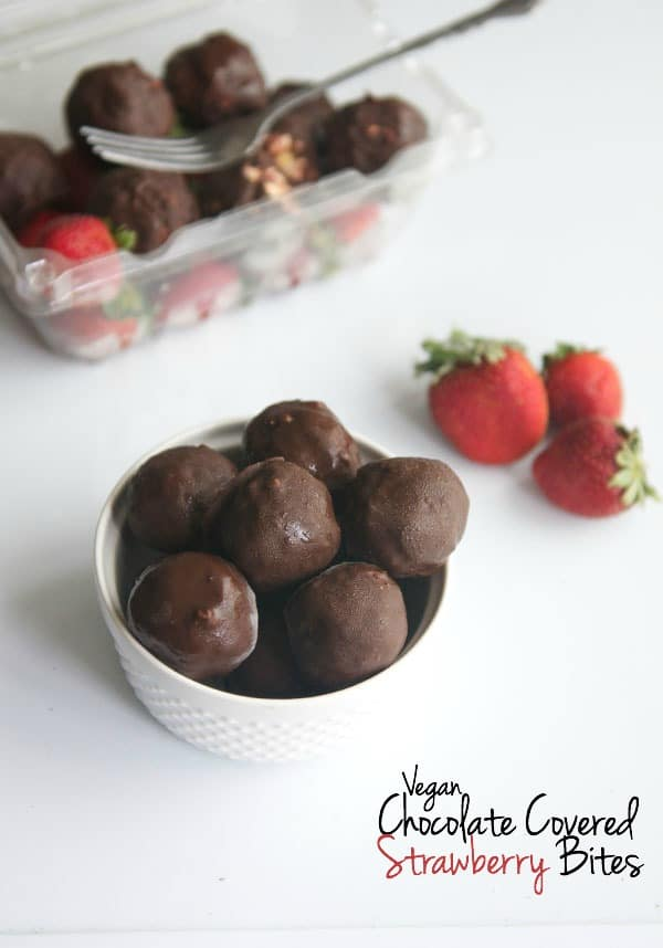 Vegan Chocolate Covered Strawberry Bites