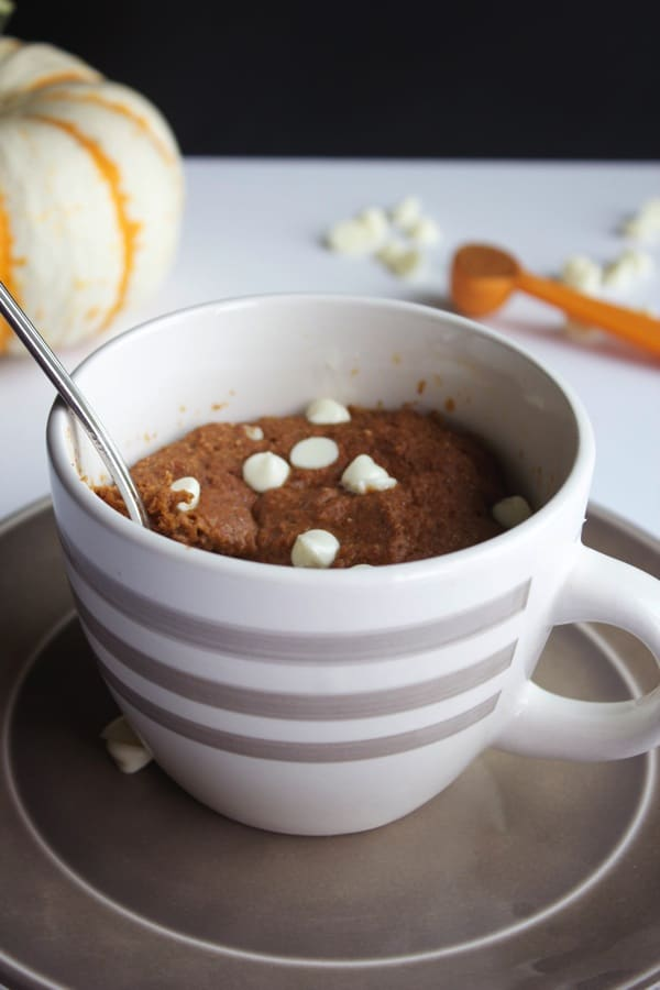 White Chocolate Pumpkin Mug Cake