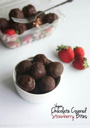 Vegan Chocolate Covered Strawberry Bites