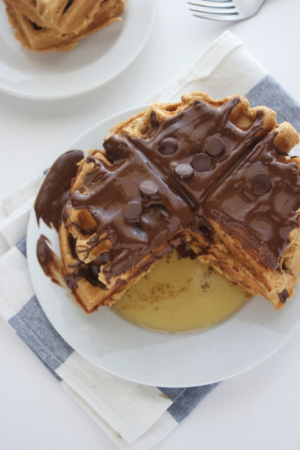 Eggless Peanut Butter Waffles-The Almond Eater