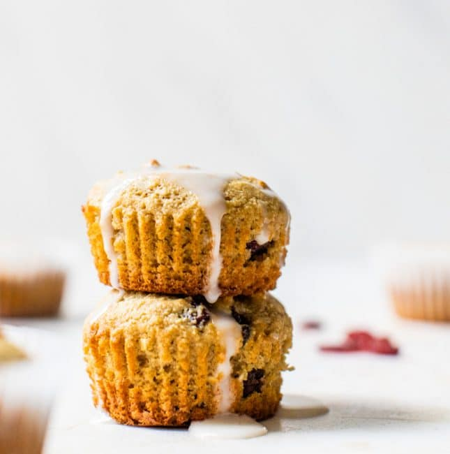 a stack of muffins with a glaze