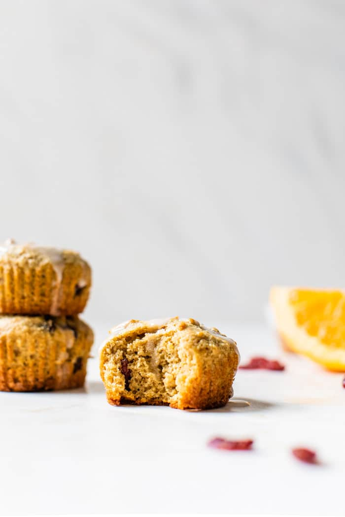 muffin with a bite out of it