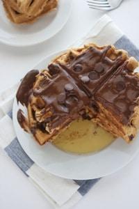 Eggless Chocolate Peanut Butter Waffles 6