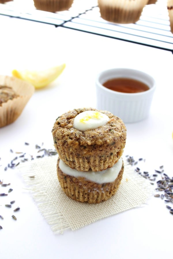 lavender and almond lemon lavender muffins with honey yogurt glaze the almond eater
