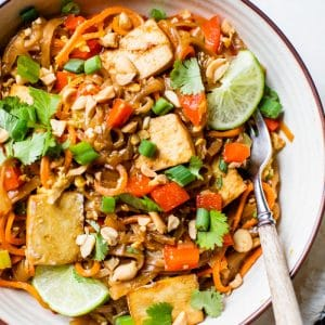 noodles in a bowl with tofu