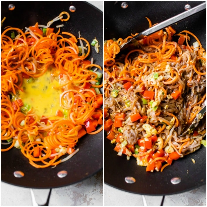 carrot noodles in a skillet with scrambled egg
