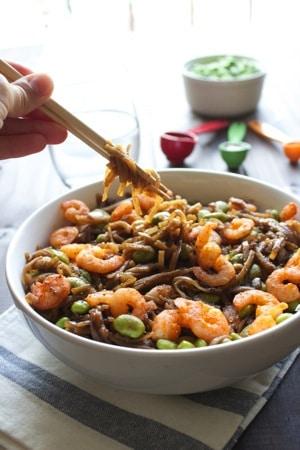 Asian Noodles with Sriracha Shrimp 5