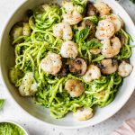 pasta with pesto and shrimp
