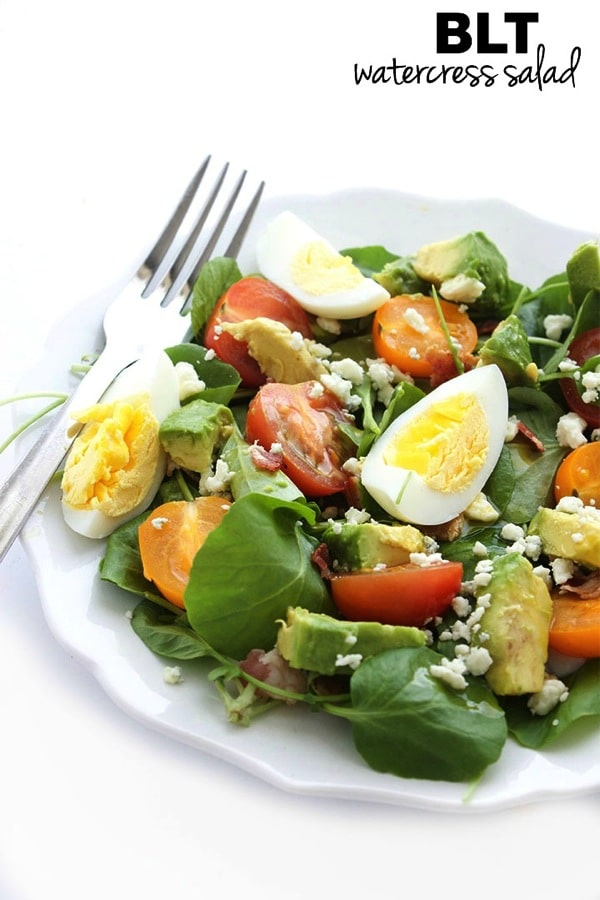 ... BLT Watercress Salad is topped with eggs and blue cheese and drizzled