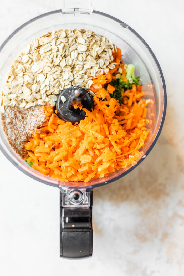 carrots, oats and broccoli in a food processor