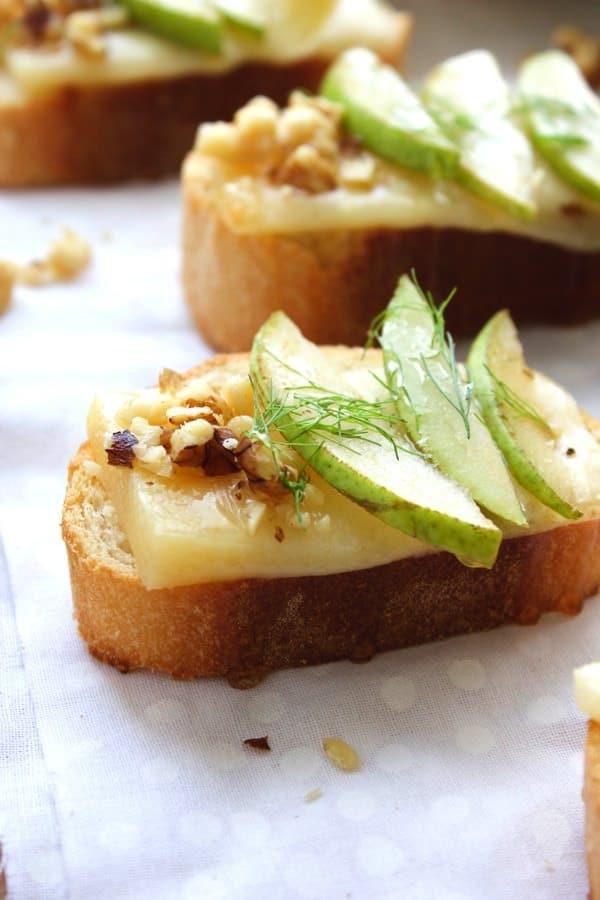 Pear Parmesan Honey Crostini 6