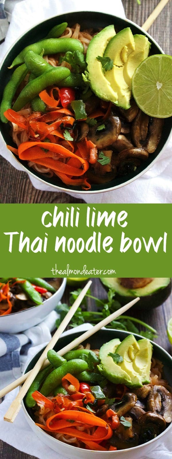 Chili Lime Thai Noodle Bowl | A delicious bowl that's gluten free, dairy free and only 8 ingredients!