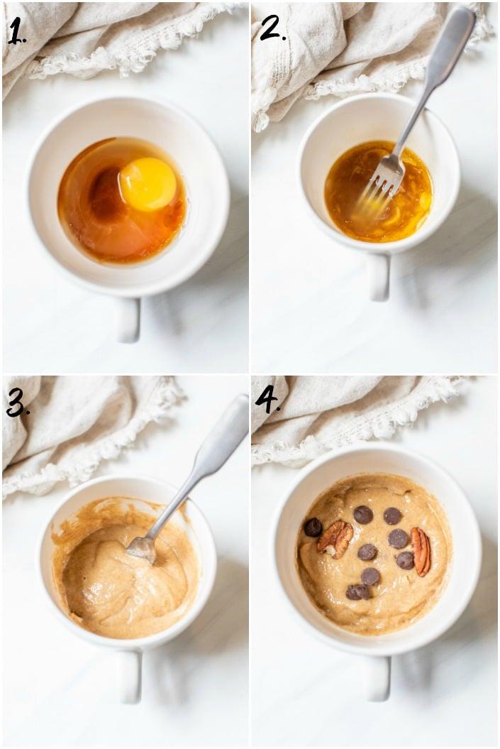 step by step how to make a mug cake