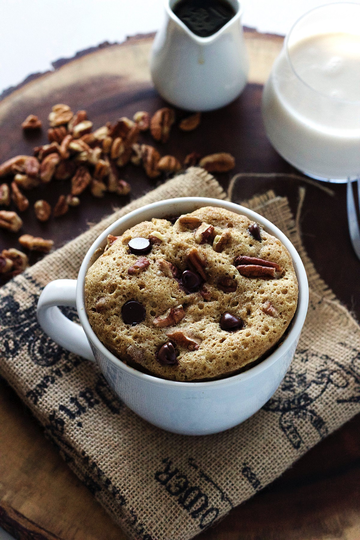 Chocolate Chip Pecan Mug Cake-The Almond Eater