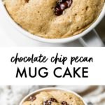 cake made in a mug with chocolate chips