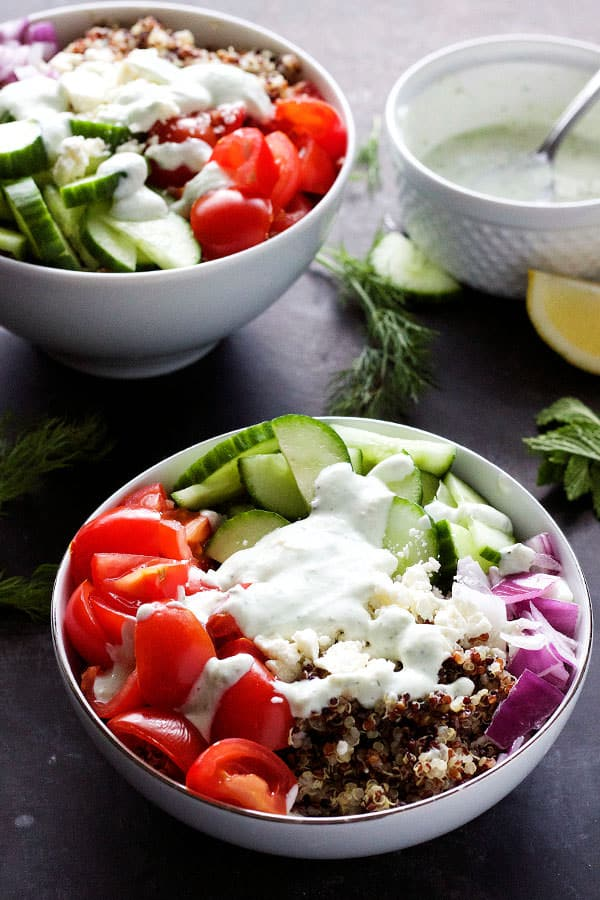 healthy vegetarian meal—this Mediterranean Quinoa Bowl is filled ...