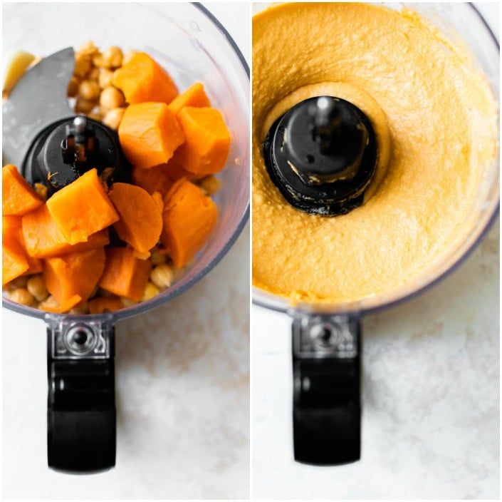 sweet potatoes in a food processor