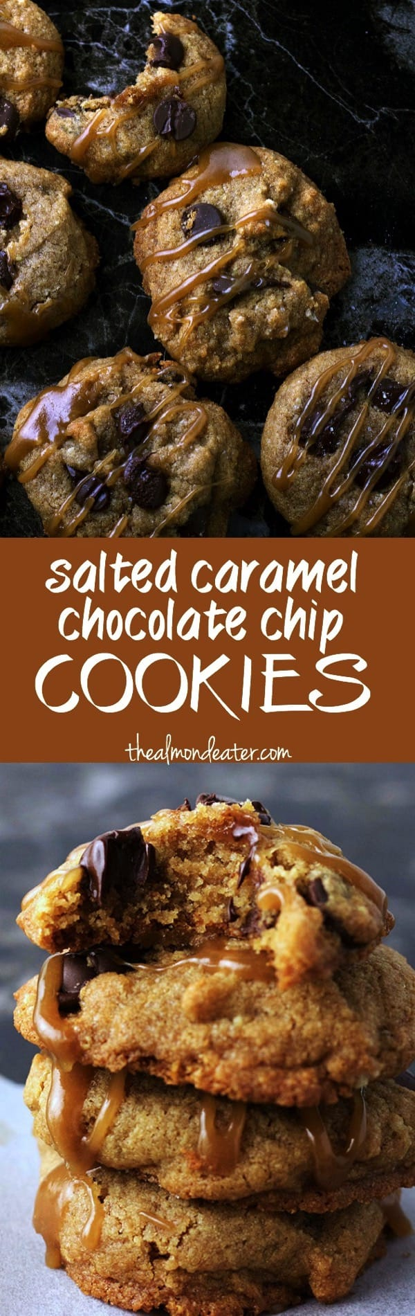 Healthy Salted Caramel Chocolate Chip Cookies | Gluten free cookies with a HEALTH caramel sauce drizzle | thealmondeater.com