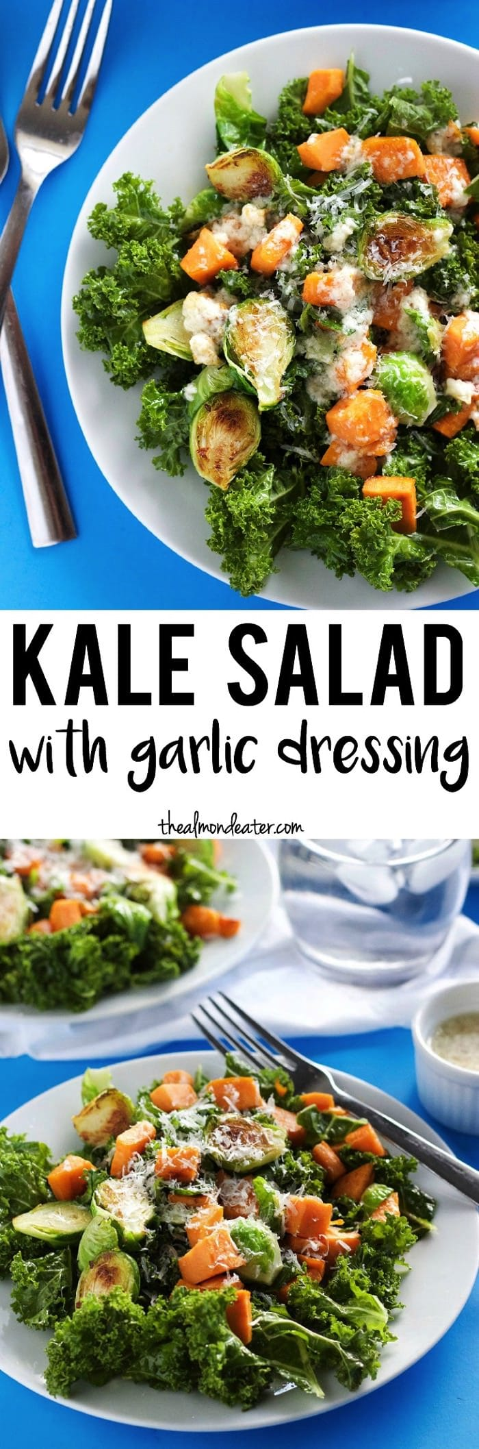 Kale Salad with Garlic Dressing-The Almond Eater