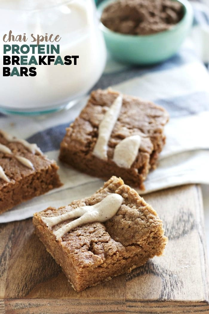 Soft, chewy breakfast bars that taste like chai spice and will keep you full all morning long!