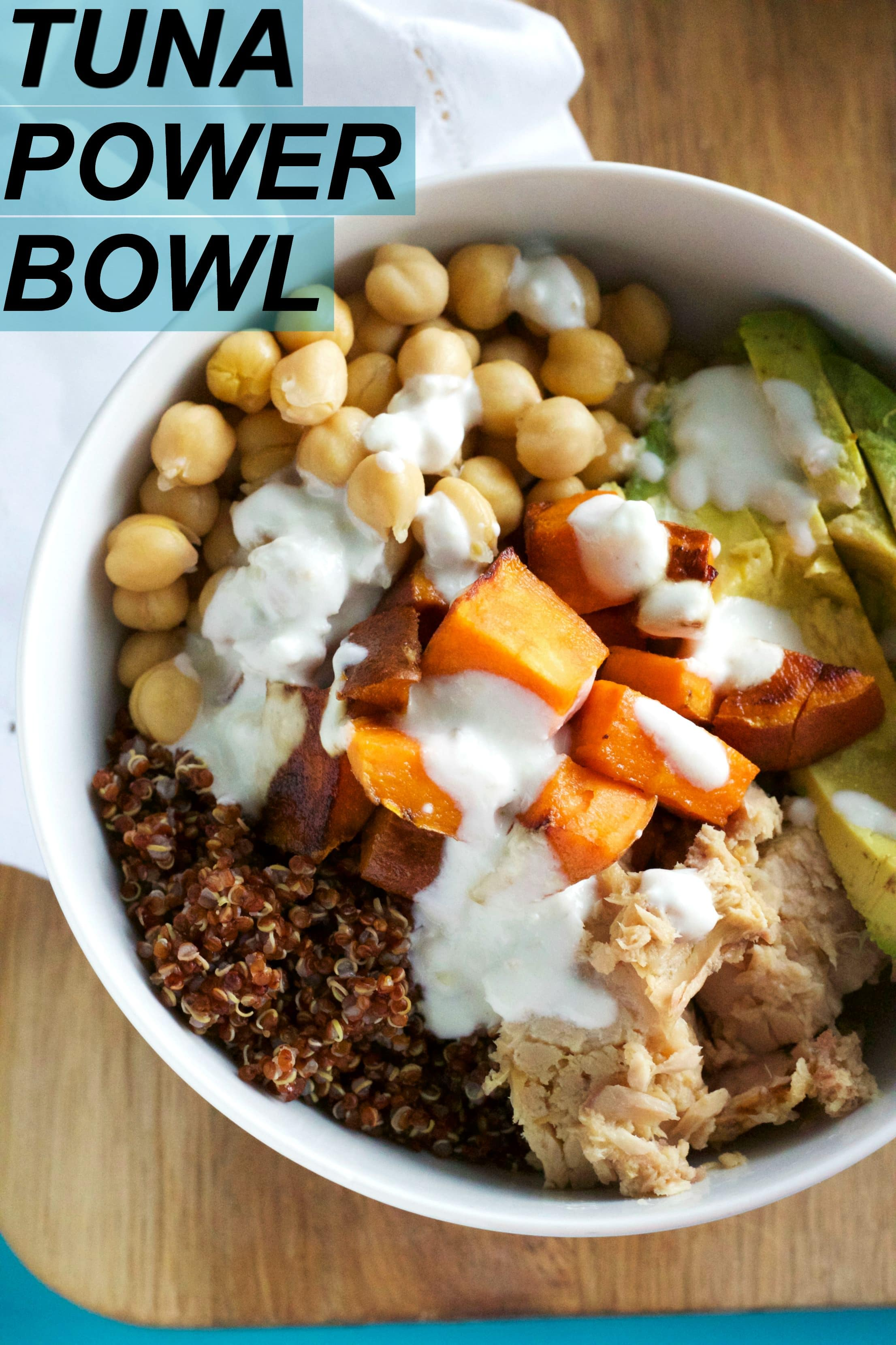A PROTEIN Tuna Power Bowl filled with quinoa, chickpeas and tuna | thealmondeater.com