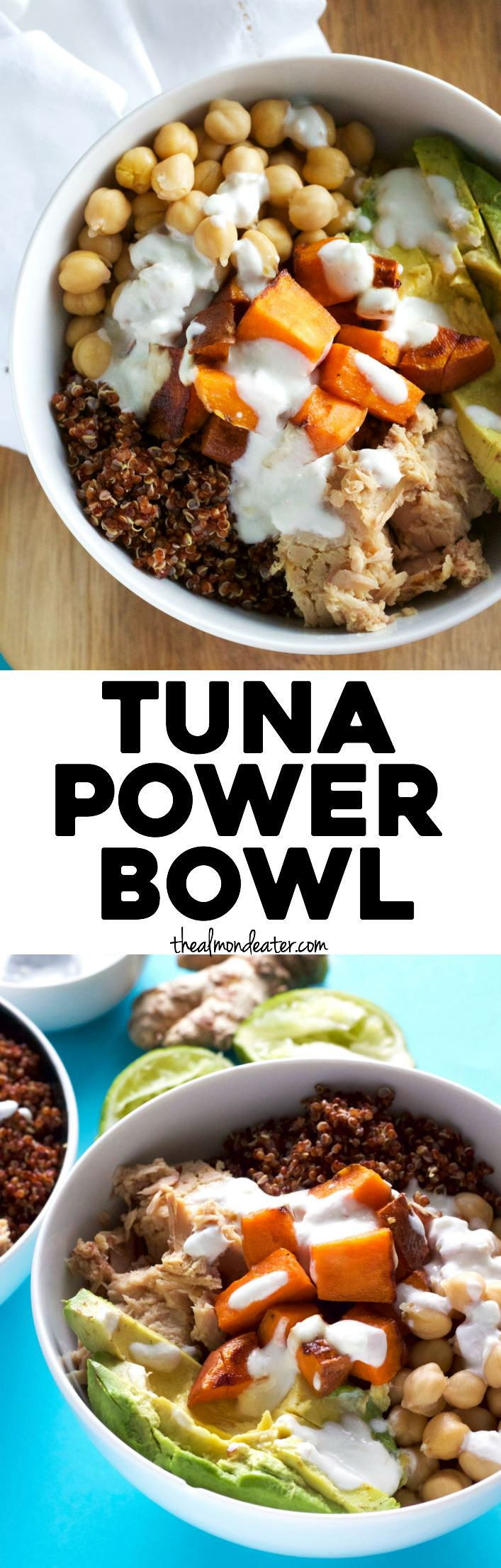 Tuna Power Bowl filled with tons of PROTEIN, like quinoa, chickpeas and tuna | thealmondeater.com