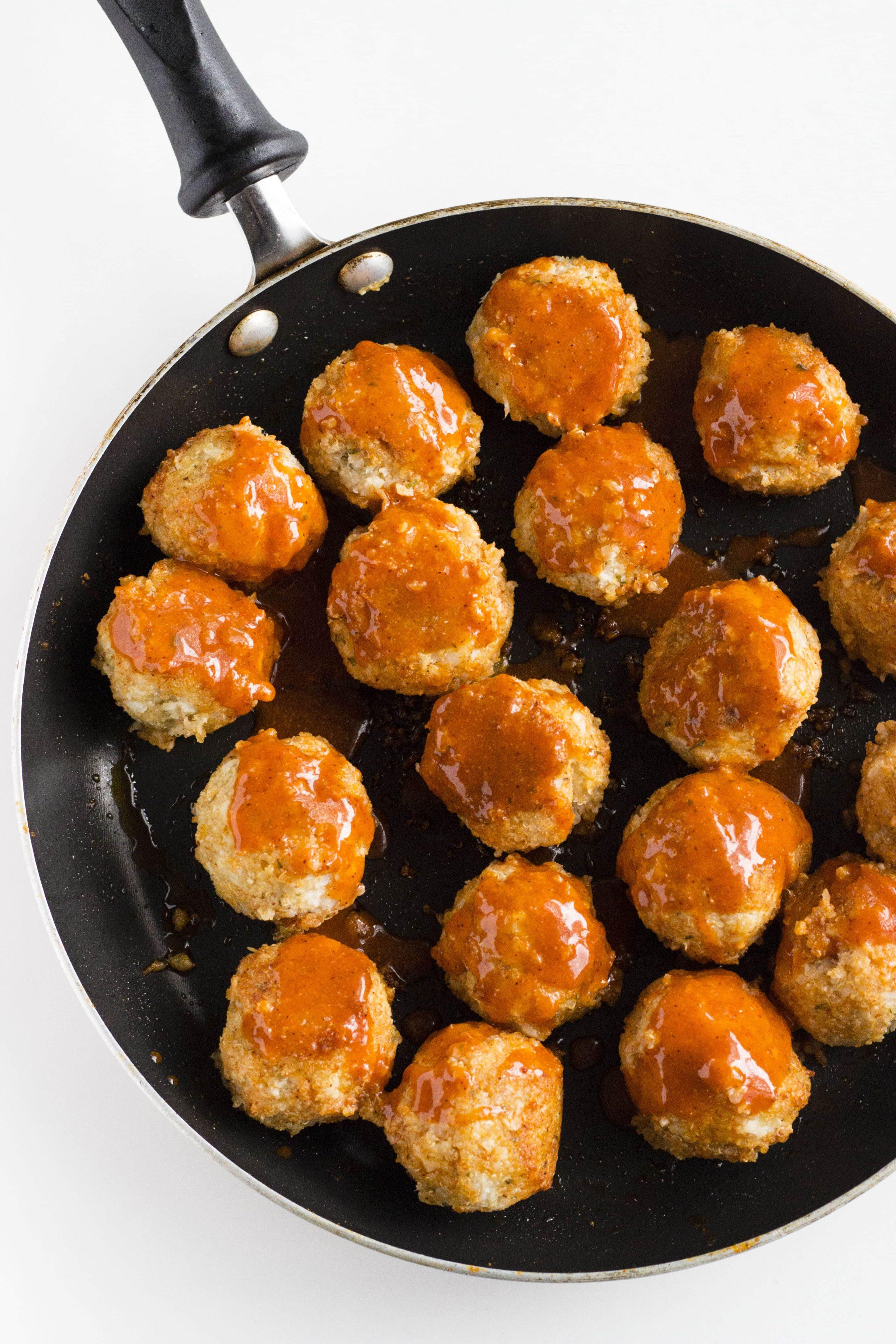 Buffalo Cauliflower Quinoa Meatballs   thealmondeater.com