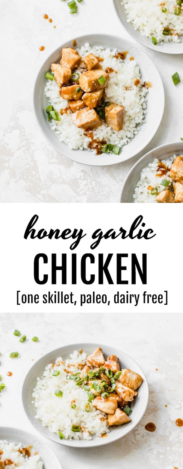 Honey Garlic Chicken is served with cauliflower rice and is a healthy #paleo dinner option | thealmondeater.com