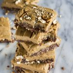 Vegan Peanut Butter Pretzel Bars   6 ingredient no bake bars topped with pretzels!   thealmondeater.com