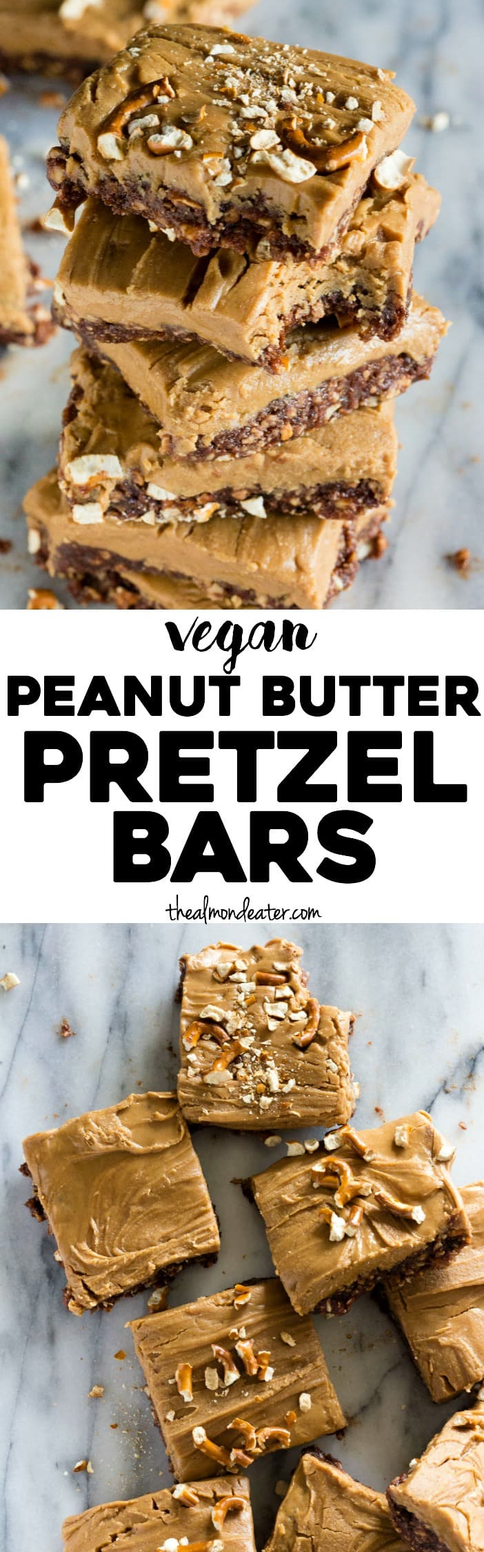 Vegan Peanut Butter Pretzel Bars | Just 6 ingredients and SO easy to make
