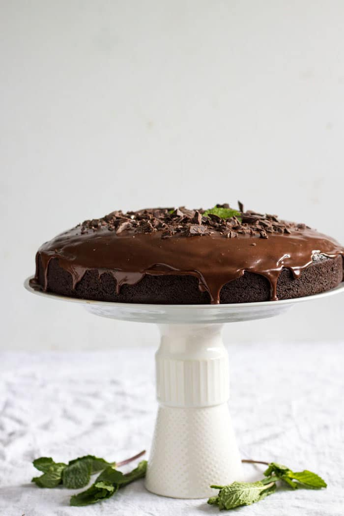 Chocolate Mint Cake | A decadent chocolate cake that's dairy free, too!
