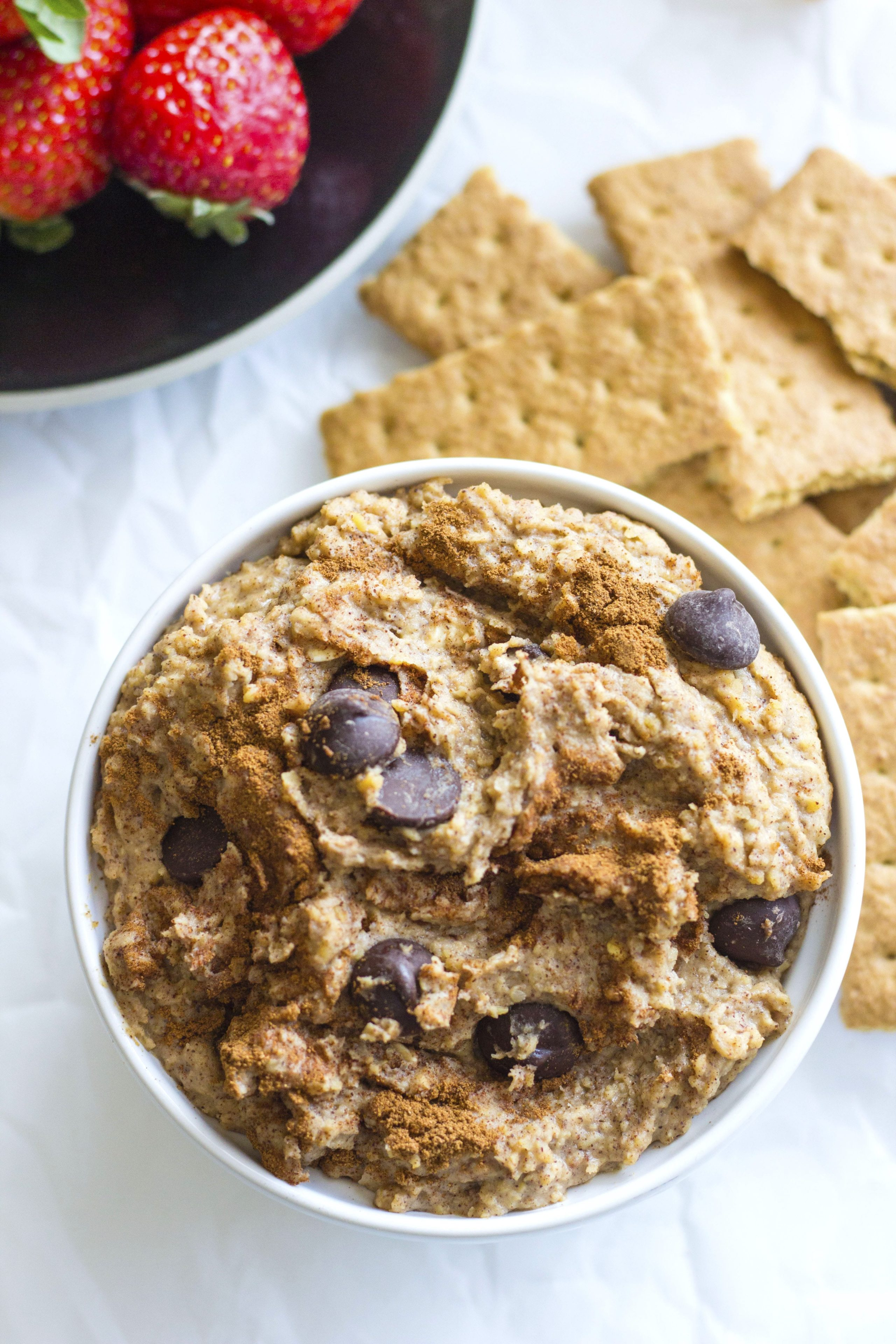 Cinnamon Chocolate Chip Chickpea Dip | A sweet and healthy protein-packed snack dip or appetizer!