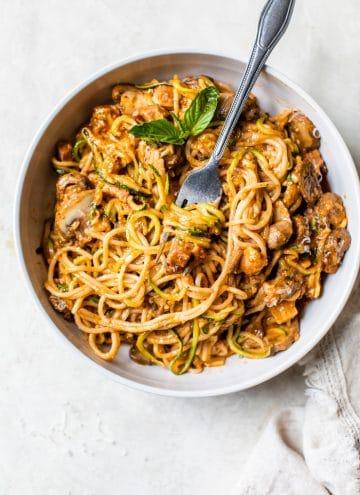 pesto pasta in a bowl