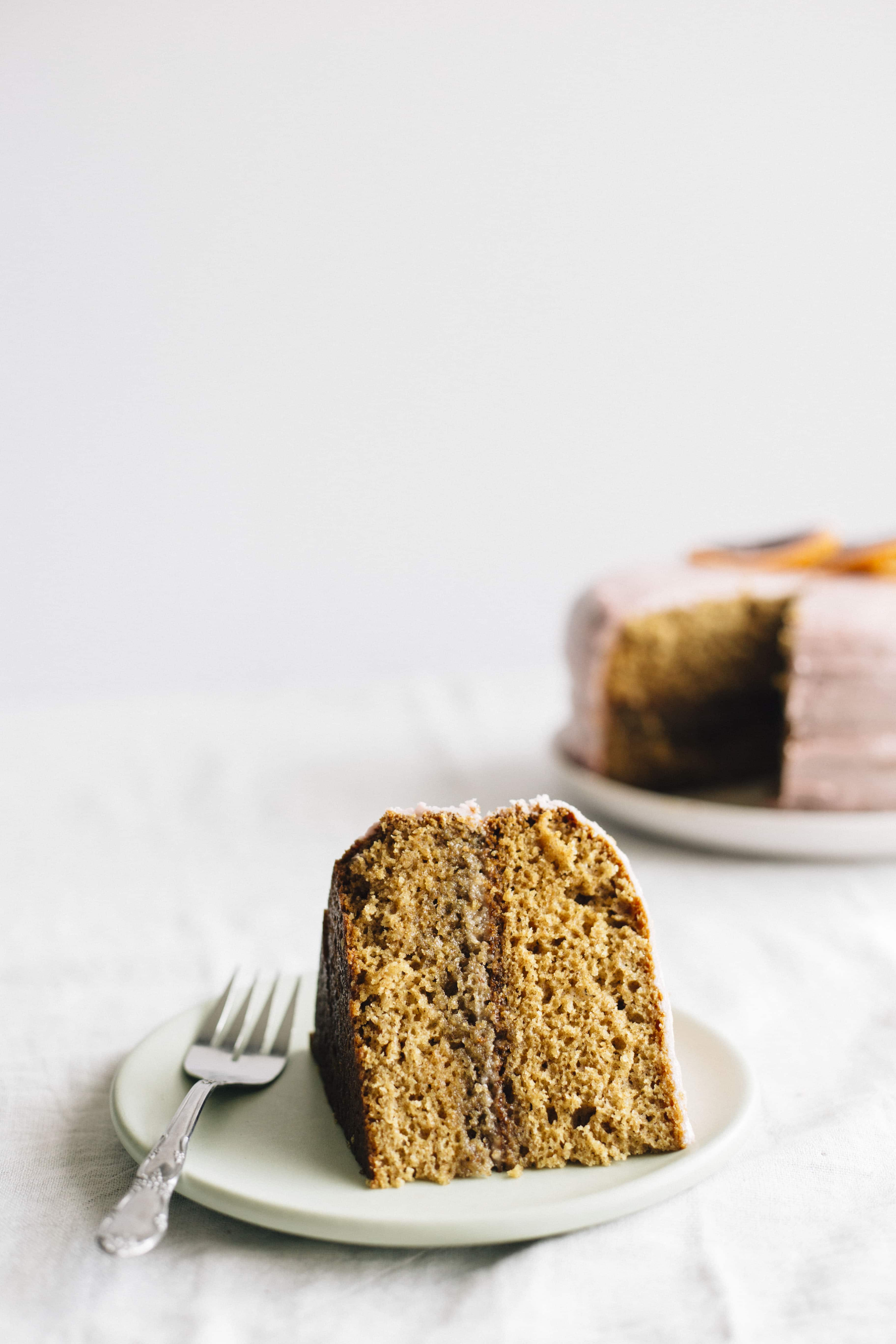 Vanilla blood orange cake made with healthy substitutions like coconut oil and applesauce--super moist!
