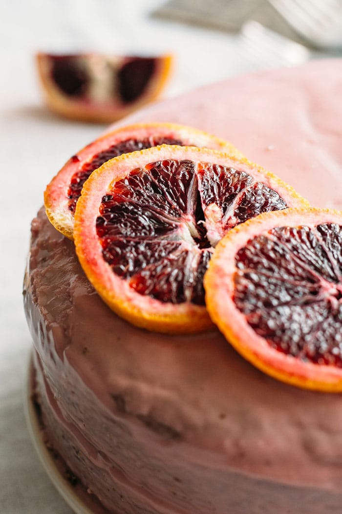 A vanilla blood orange cake made with healthy substitutions like coconut oil and maple syrup. Super moist, too!