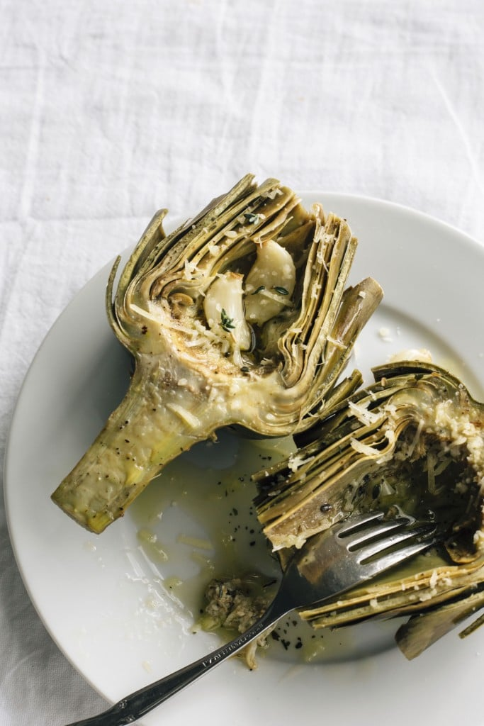 Roasted Artichokes: Learn how to roast an artichoke with this step-by-step tutorial! | thealmondeater.com