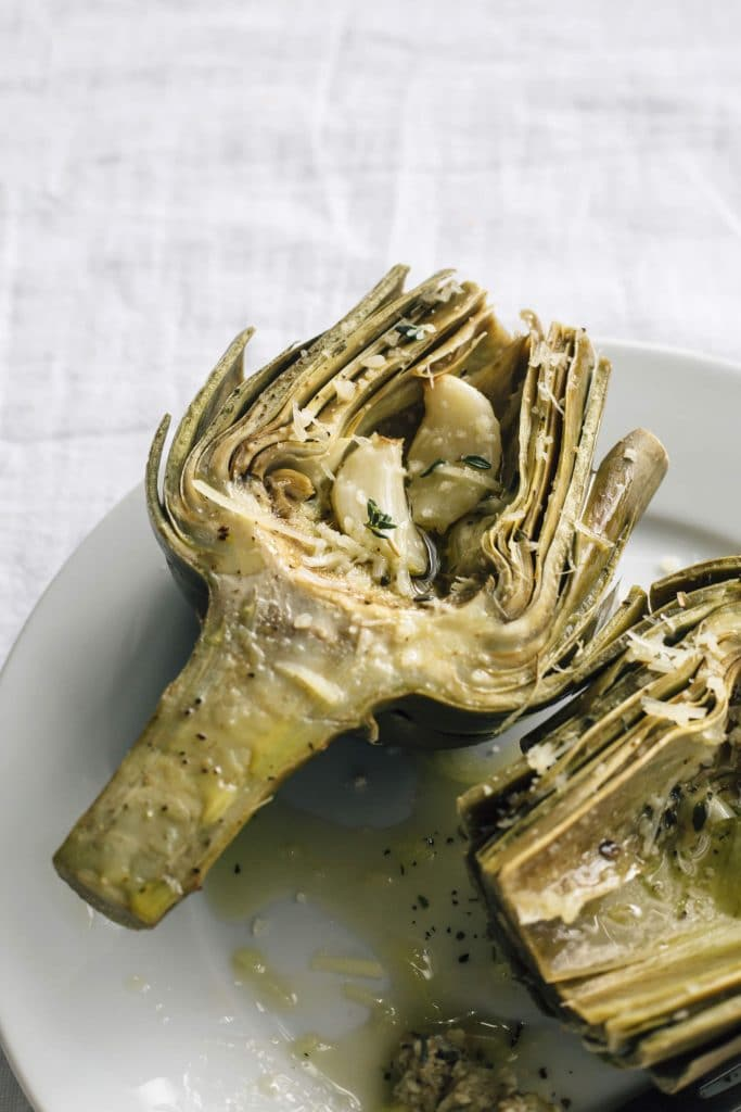 roasted artichokes with garlic and parmesan the almond eater