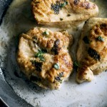 Skillet Chicken--marinated in coconut milk, this chicken comes together in just 30 minutes!