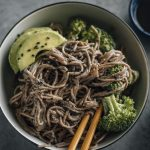 Black Sesame Soba Noodles | Noodles marinated in tahini that have a sweet kick to them | thealmondeater.com